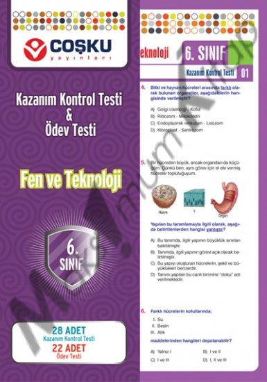 6.sınıf Fen ve Teknoloji Kazanım Kontrol Testi & Ödev Testi coşku yayınları