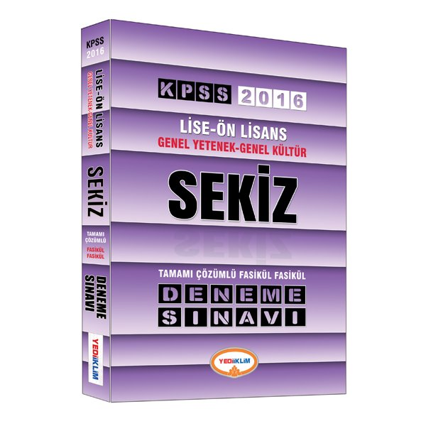 2016 KPSS Lise Ön Lisans Genel Yetenek Genel Kültür Tamamı Çözümlü 8 Deneme Yediiklim Yayınları