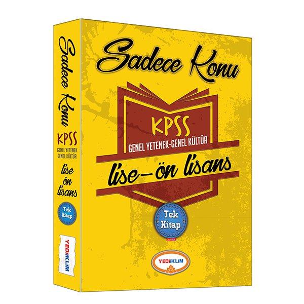 KPSS Lise Önlisans Genel Yetenek Genel Kültür Sadece Konu Tek Kitap Yediiklim Yayınları