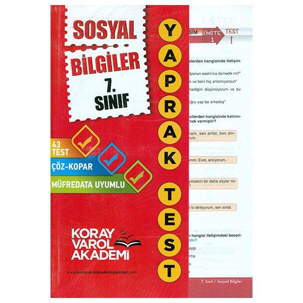7. Sınıf Sosyal Bilgiler Yaprak Test Koray Varol Akademi