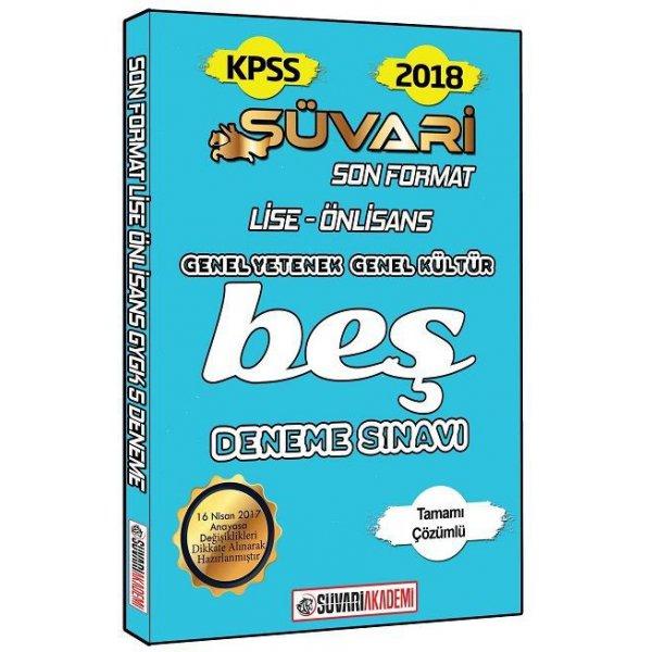 2018 KPSS Lise Ön Lisans Son Format Tamamı Çözümlü 5 Deneme Sınavı Süvari Akademi Yayınları