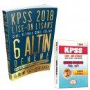 2018 KPSS Lise Ön Lisans Tamamı Çözümlü 6 Altın Deneme Benim Hocam Yayınları Hediyeli