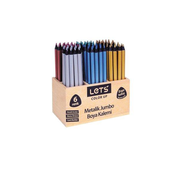 Lets Boya Kalemi 6 Renk Metalik Ahsap 108 Li 4040