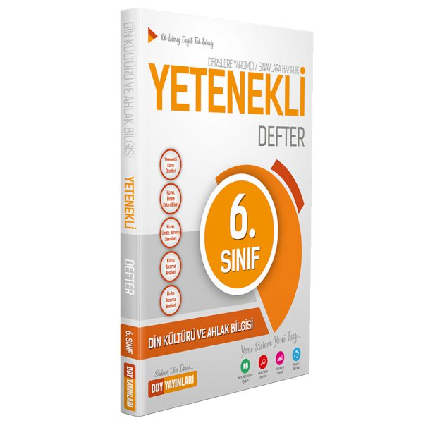 6. Sınıf Din Kültürü ve Ahlak Bilgisi Yetenekli Defter DDY Yayınları