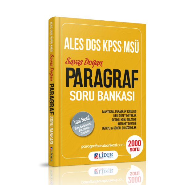 2019 ALES KPSS DGS MSÜ Savaş Doğan Paragraf Soru Bankası Lider Yayınları