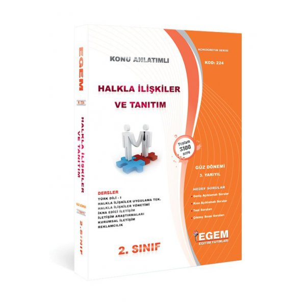 Egem Yayınları Açıköğretim Güz Dönemi Halkla İlişkiler ve Tanıtım 2. Sınıf 3.Yarıyıl Konu Anlatımlı Soru Bankası