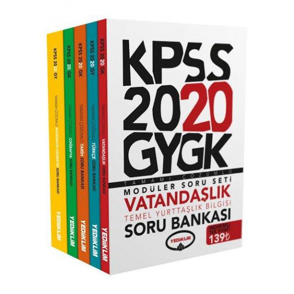 2020 KPSS Genel Yetenek Genel Kültür Tamamı Çözümlü Modüler Soru Bankası Yediiklim Yayınları