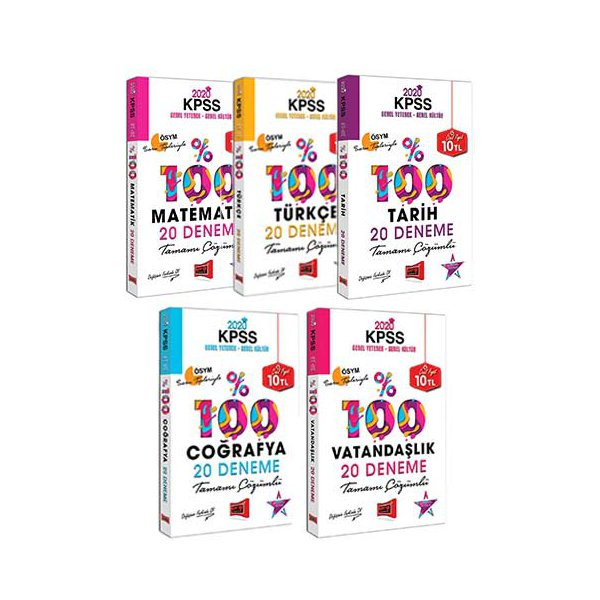 Yargı Yayınları 2020 KPSS Genel Yetenek Genel Kültür Tamamı Çözümlü 100 Deneme Seti
