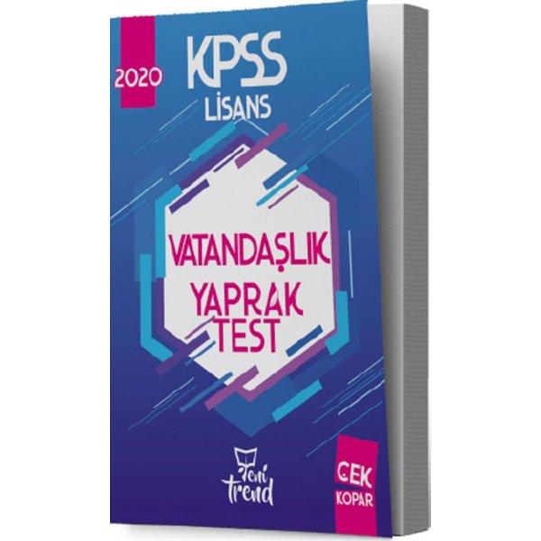 2020 KPSS Vatandaşlık Yaprak Test Yeni Trend Yayınları
