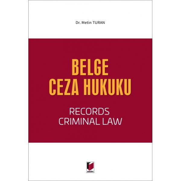 Belge Ceza Hukuku Metin Turan Adalet Yayınevi