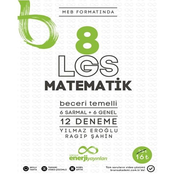 Enerji Yayınları 8. Sınıf LGS Matematik Meb Formatında 12 Deneme