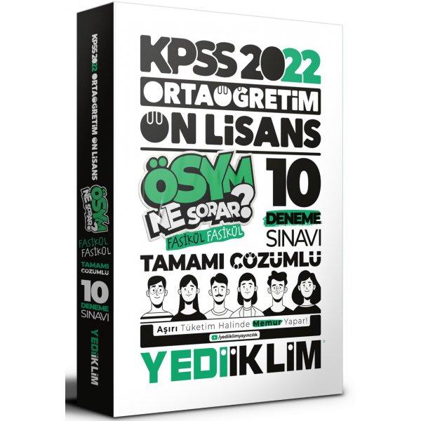 2022 KPSS Ortaöğretim Ön Lisans Genel Yetenek Genel Kültür Tamamı Çözümlü 10 Fasikül Deneme Yediiklim Yayınları