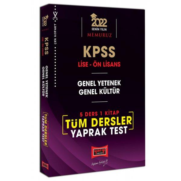 2022 KPSS Lise Ön Lisans Genel Yetenek Genel Kültür 5 Ders 1 Kitap Tüm Dersler Yaprak Test Yargı Yayınları