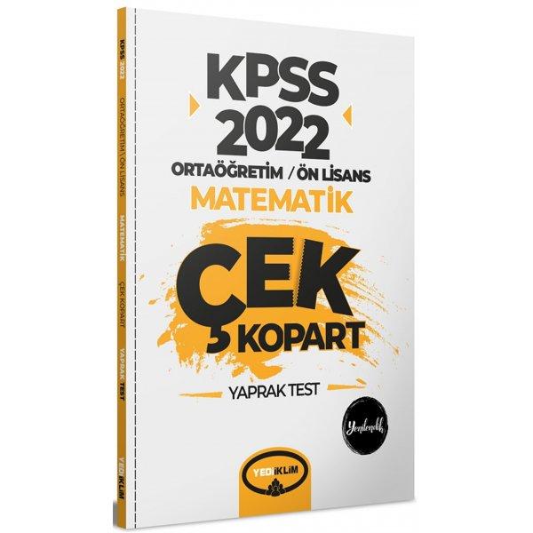 2022 KPSS Ortaöğretim Ön Lisans Genel Yetenek Matematik Çek Kopart Yaprak Test Yediiklim Yayınları
