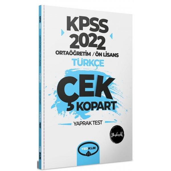 2022 KPSS Ortaöğretim Ön Lisans Genel Yetenek Türkçe Çek Kopart Yaprak Test Yediiklim Yayınları