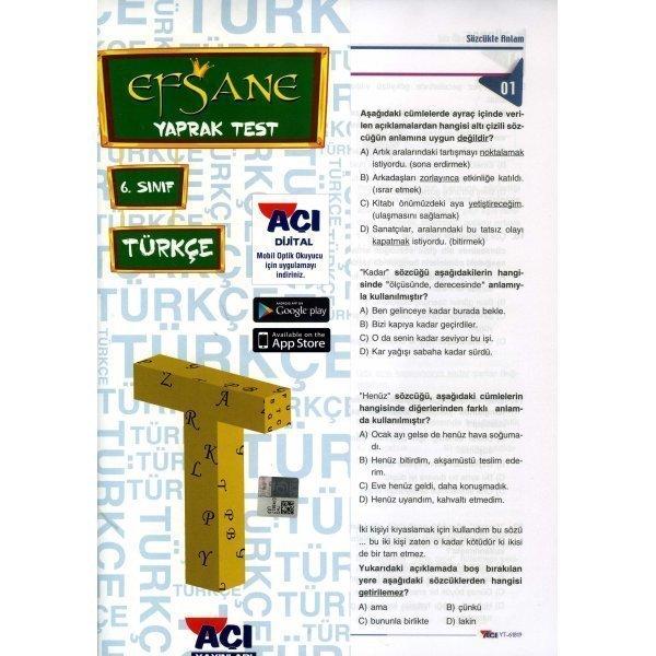 6. Sınıf Türkçe Çek Kopart Yaprak Test Açı Yayınları
