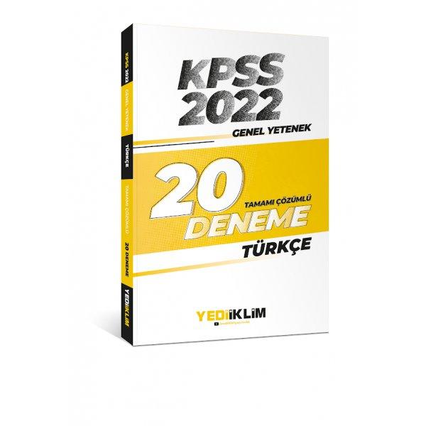 2022 KPSS Genel Yetenek Türkçe Tamamı Çözümlü 20 Deneme Sınavı Yediiklim Yayınları