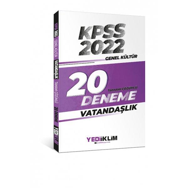 2022 KPSS Genel Kültür Vatandaşlık Tamamı Çözümlü 20 Deneme Sınavı Yediiklim Yayınları