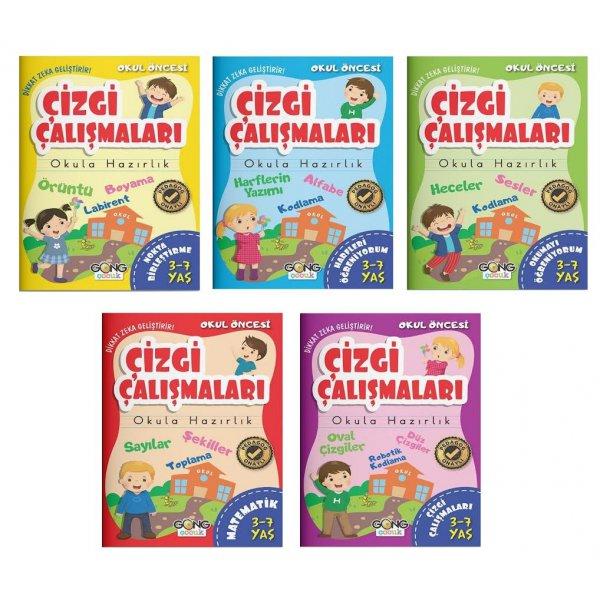 Okul Öncesi Çizgi Çalışmaları 3-7 Yaş 5 Kitap Set Gong Çocuk