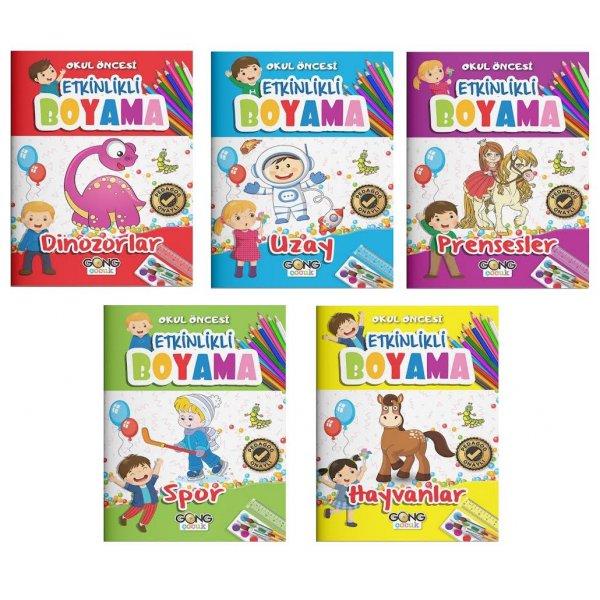 Okul Öncesi Etkinlikli Boyama 3-7 Yaş 5 Kitap Set Gong Çocuk