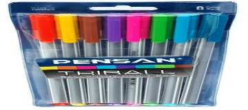 Pensan Triball Tükenmez Kalem Renkli 8li Set